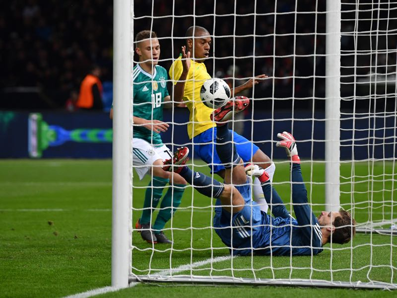 Kevin Trapp conceded a soft-goal against Brazil. (Photo by Stuart Franklin/Bongarts/Getty Images)