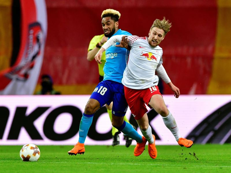 Leipzig vs Marseille - Emil Forsberg (r.) was the man of the match. (JOHN MACDOUGALL/AFP/Getty Images)