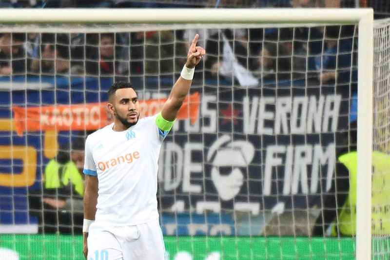 Marseille vs Leipzig Marseille's French forward Dimitri Payet celebrates after scoring a wonder-goal during the Europa League quarter final: Marseille vs Leipzig. (Photo BORIS HORVAT/AFP/Getty Images)