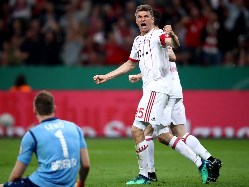 Leverkusen v Bayern - Thomas Müller was the Futbolgrad Network man of the match. (Photo by Alex Grimm/Bongarts/Getty Images)
