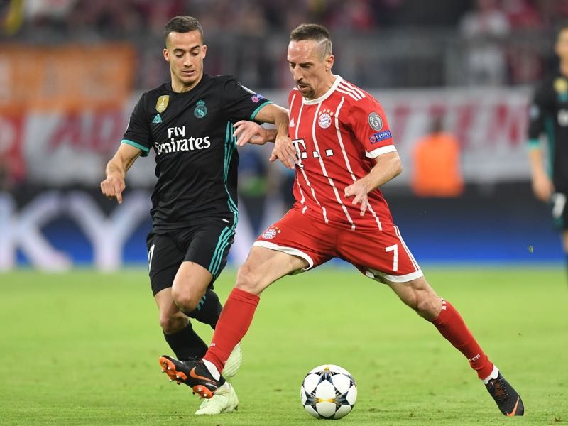 Bayern v Real Madrid - Vazquez (l.) took Ribéry out of the match in the second half. (CHRISTOF STACHE/AFP/Getty Images)