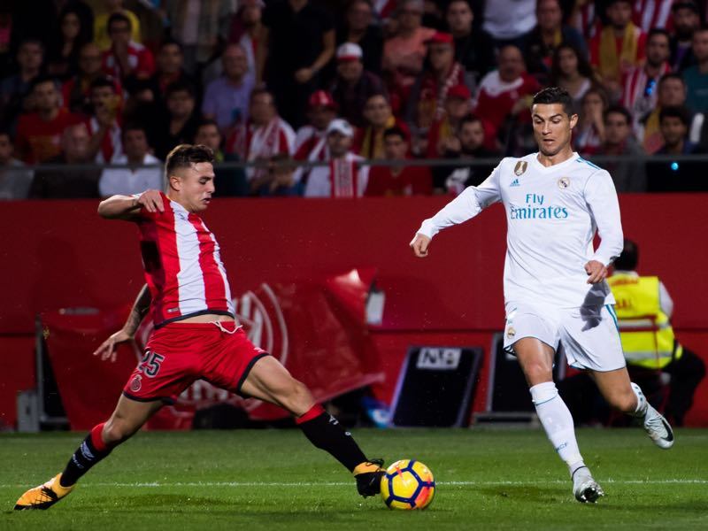 Pablo Maffeo (l.) has impressed against the likes of Cristiano Ronaldo (r.) in La Liga. Photo by Alex Caparros/Getty Images)
