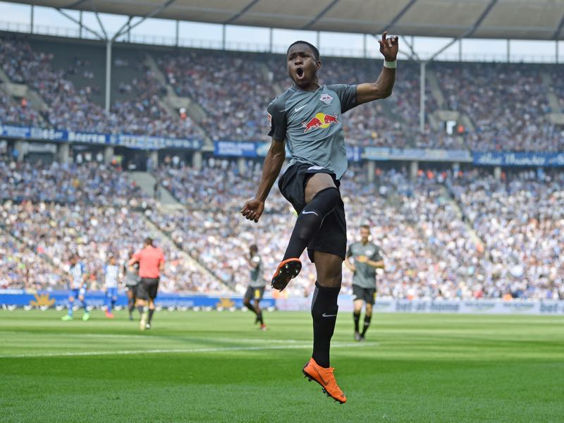 Ademola Lookman of Leipzig celebrates his teams second goal during the Bundesliga match between Hertha BSC and RB Leipzig at Olympiastadion on May 12, 2018 in Berlin, Germany. (Photo by Thomas Starke/Bongarts/Getty Images)