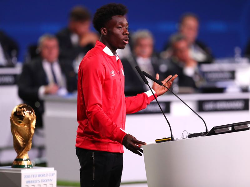 Alphonso Davies Canadian International speaks during the United 2026 presentation to become the host for the 2026 FIFA World Cup during the 68th FIFA Congress at Moscow's Expocentre on June 13, 2018 in Moscow, Russia. (Photo by Catherine Ivill/Getty Images)