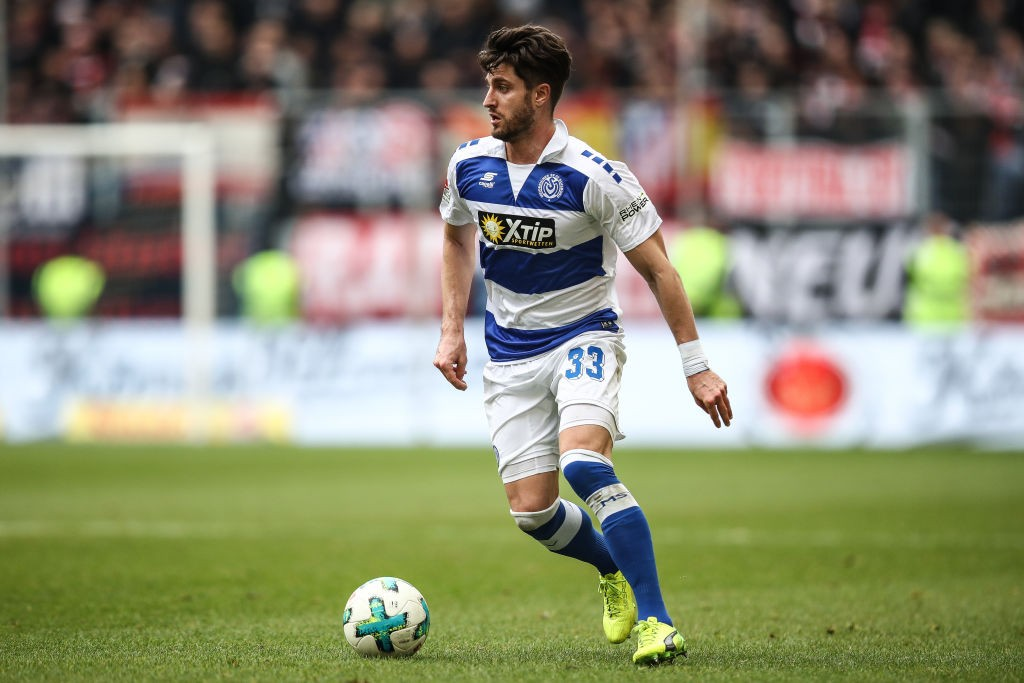 Moritz Stoppelkamp #33 of MSV Duisburg controls the ball during the Second Bundesliga match between MSV Duisburg and Fortuna Duesseldorf at Schauinsland-Reisen-Arena on March 11, 2018 in Duisburg, Germany. (Photo by Maja Hitij/Bongarts/Getty Images)