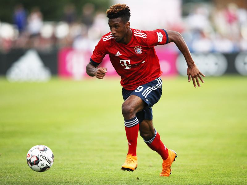 Kingsley Coman of Bayern Munich controls the ball during the Pre-Season Friendly match between SV Rottach-Egern and FC Bayern Muenchen on August 8, 2018 in Rottach-Egern, Germany. (Photo by Adam Pretty/Bongarts/Getty Images)