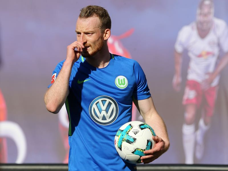 Maximilian Arnold of Wolfsburg looks on during the Bundesliga match between RB Leipzig and VfL Wolfsburg at Red Bull Arena on May 5, 2018 in Leipzig, Germany. (Photo by Matthias Kern/Bongarts/Getty Images)