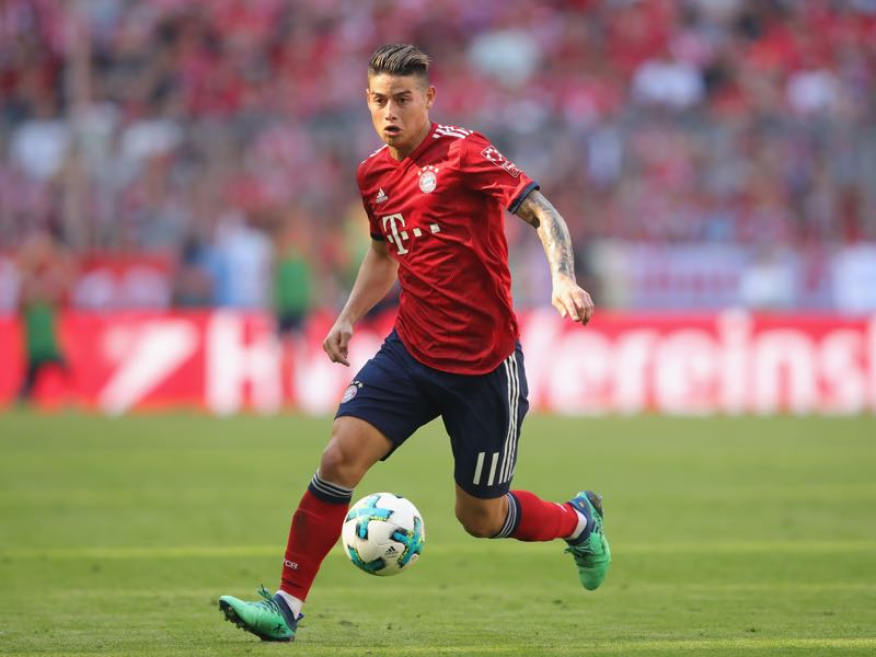 James Rodriguez of FC Bayern Muenchen runs with the ball during the Bundesliga match between FC Bayern Muenchen and VfB Stuttgart at Allianz Arena on May 12, 2018 in Munich, Germany. (Photo by Alexander Hassenstein/Bongarts/Getty Images)