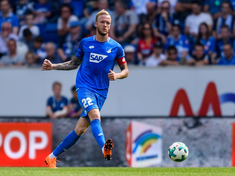 Kevin Vogt of Hoffenheim in action during the Bundesliga match between TSG 1899 Hoffenheim and Borussia Dortmund at Wirsol Rhein-Neckar-Arena on May 12, 2018 in Sinsheim, Germany. (Photo by Alexander Scheuber/Bongarts/Getty Images)