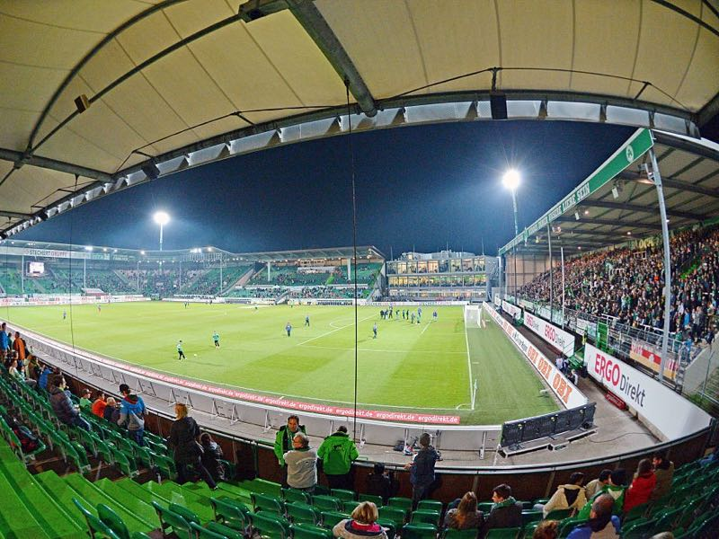 Fürth vs Dortmund will take place at the Sportpark Ronhof Thomas Sommer in Fürth (Photo by Thomas Starke/Bongarts/Getty Images)