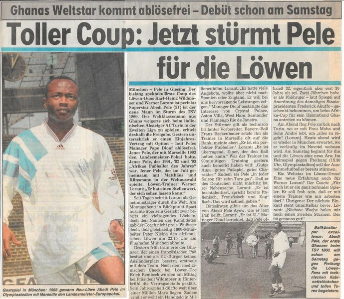 A fantastic coup: Abedi Pele now attacks for the Lions