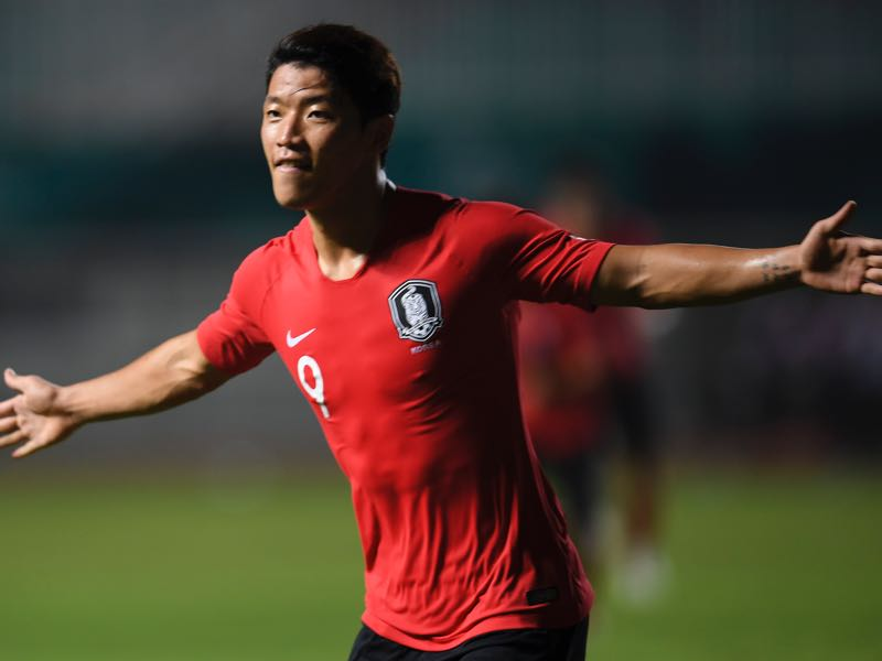 Hwang South Korea's Hee Chan Hwang celebrates a score during the men's football gold medals match between Japan and South Korea at the 2018 Asian Games in Pakansari Stadium at Bogor on September 1, 2018. (Photo by CHAIDEER MAHYUDDIN / AFP)