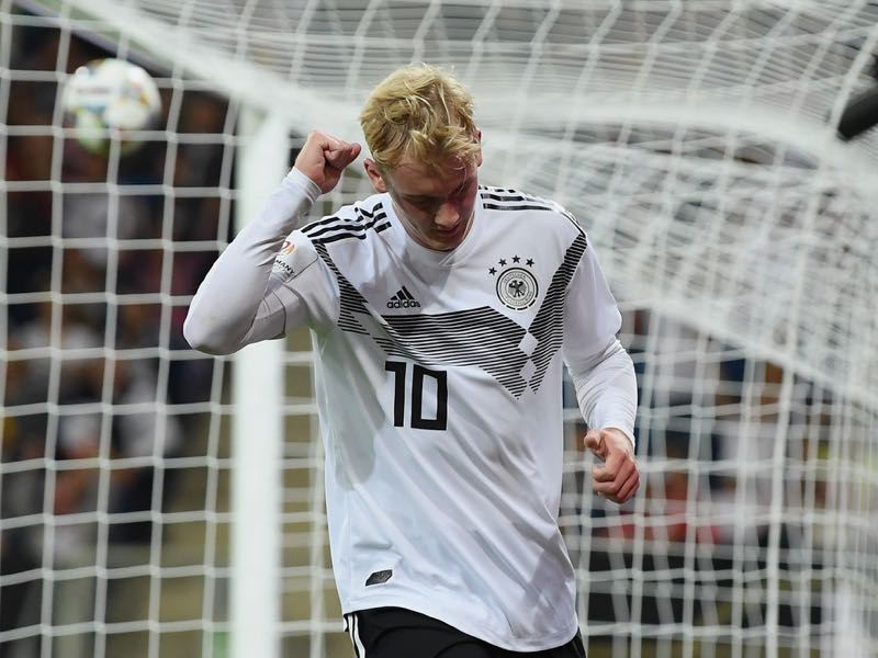 Germany v Peru - Julian Brandt of Germany celebrates after scoring his team's first goal during the International Friendly match between Germany and Peru on September 9, 2018 in Sinsheim, Germany. (Photo by Matthias Hangst/Bongarts/Getty Images)