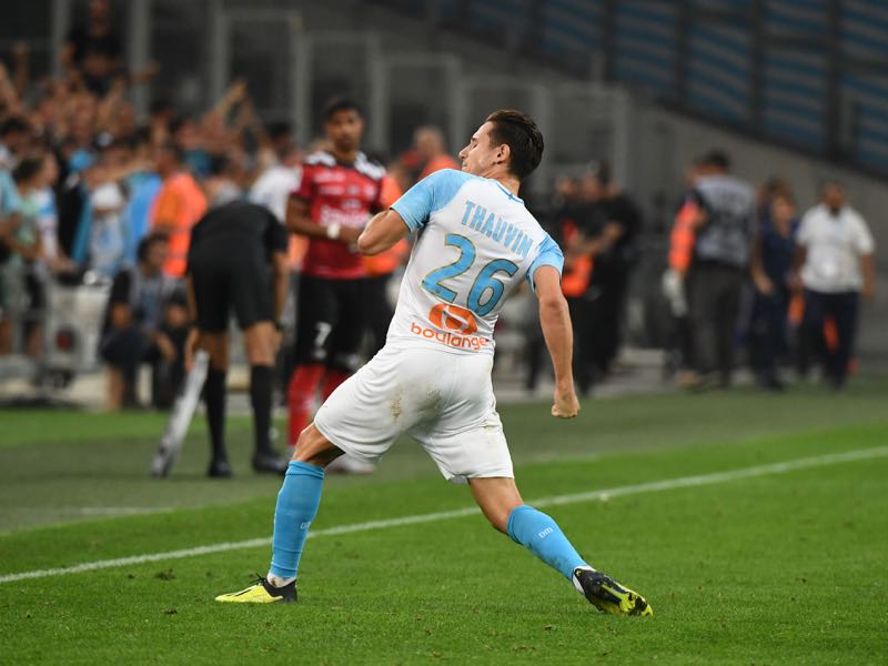 Olympique de Marseille's French midfielder Florian Thauvin reacts after scoring during their French L1 football match Olympique of Marseille (OM) versus EA Guingamp at the Velodrome stadium in Marseille on September 16, 2018. (Photo by Boris HORVAT / AFP)
