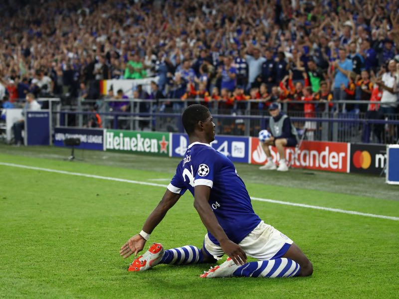 Schalke v Porto - Breel Embolo of FC Schalke 04 celebrates after he scored his sides first goal during the Group D match of the UEFA Champions League between FC Schalke 04 and FC Porto at Veltins-Arena on September 18, 2018 in Gelsenkirchen, Germany. (Photo by Maja Hitij/Bongarts/Getty Images)