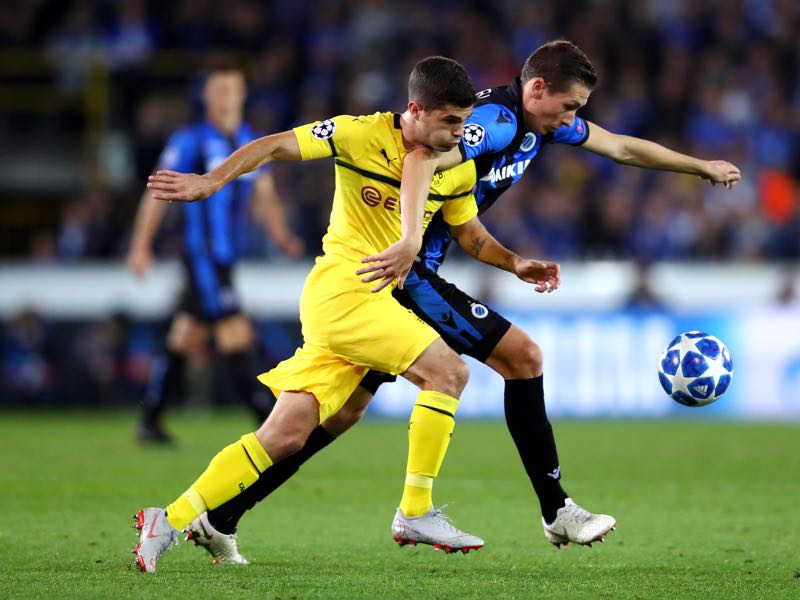 Brugge v Borussia Dortmund - Christian Pulisic of Borussia Dortmund was the man of the match (Photo by Dean Mouhtaropoulos/Getty Images)