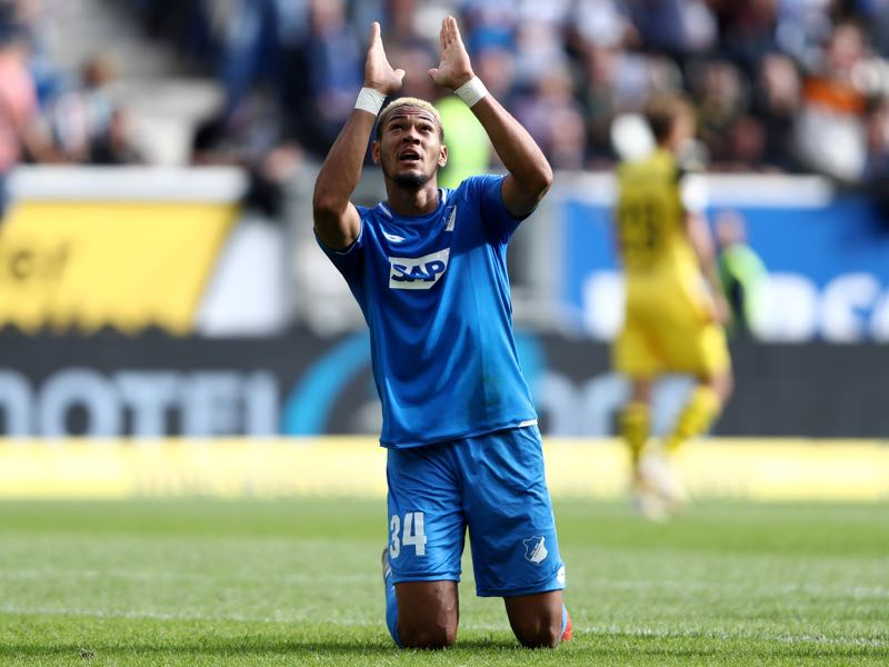Hoffenheim v Borussia Dortmund - Joelinton of 1899 Hoffenheim celebrates after scoring his team's first goal during the Bundesliga match between TSG 1899 Hoffenheim and Borussia Dortmund at Wirsol Rhein-Neckar-Arena on September 22, 2018 in Sinsheim, Germany. (Photo by Alex Grimm/Bongarts/Getty Images)