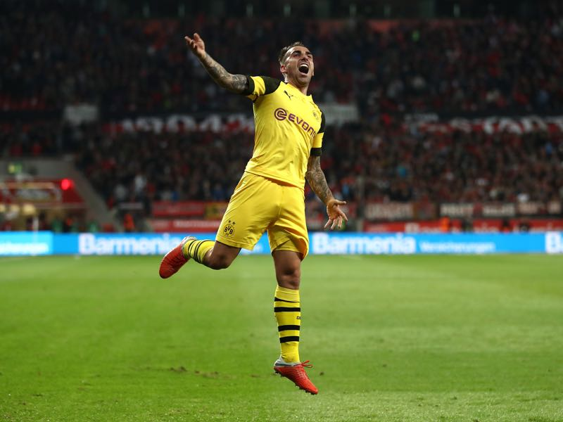 Leverkusen v Dortmund - Paco Alcacer of Borussia Dortmund celebrates during the Bundesliga match between Bayer 04 Leverkusen and Borussia Dortmund at BayArena on September 29, 2018 in Leverkusen, Germany. (Photo by Lars Baron/Bongarts/Getty Images)