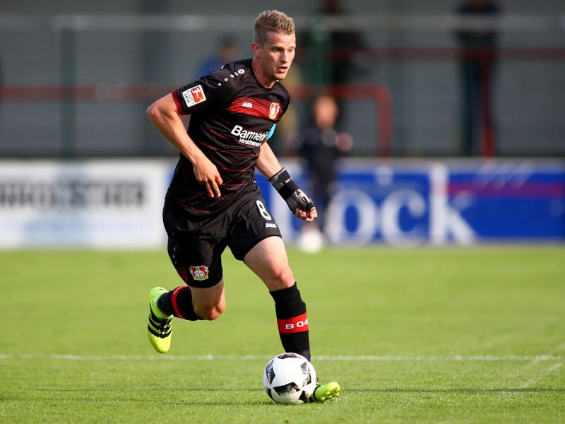 Lars Bender of Leverkusen runs with the ball during the friendly match between SC Verl and Bayer Leverkusen at Sportclub Arena on July 15, 2016 in Verl, Germany. The macth between Verl and Leverkusen ende 1-1. (Photo by Christof Koepsel/Bongarts/Getty Images)