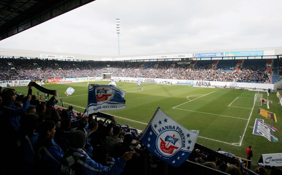 Hansa Rostock vs 1860 Munich will take place at the Ostseestadion in Rostock (Photo by Martin Rose/Bongarts/Getty Images)