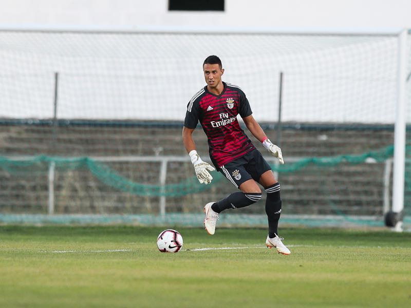 Benfica goalkeeper Odysseas Vlachodimos from Germany during the match between SL Benfica and Vitoria Setubal FC for the Internacional Tournament of Sadoat Estudio do Bonfim on July 13, 2018 in Setubal, Portugal. (Photo by Carlos Rodrigues/Getty Images)