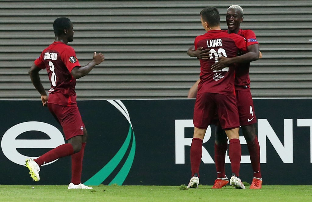 RB Leipzig vs FC Salzburg - Amadou Haidara (R) celebrates with team mates after scoring the second goal during RB Leipzig vs FC Salzburg (Photo by Matthias Kern/Bongarts/Getty Images)