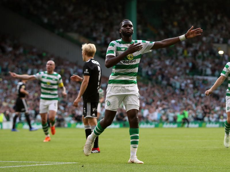 Odsonne Edouard of Celtic celebrates after scoring his team's first goal during the first leg UEFA Champions League Qualifier match between Celtic and Rosenborg at Celtic Park Stadium on July 25, 2018 in Glasgow, Scotland. (Photo by Ian MacNicol/Getty Images)