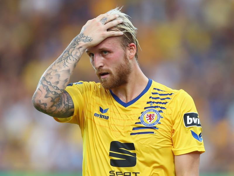 Philipp Hofmann of Braunschweig reacts during the 3. Liga match between Eintracht Braunschweig and Karlsruher SC at Eintracht Stadion on July 27, 2018 in Braunschweig, Germany. (Photo by Martin Rose/Bongarts/Getty Images)