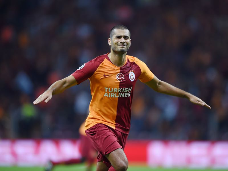 Galatasaray's Eren Derdiyok celebrates after scoring a goal during the Champions League group C football match between Red Star Belgrade and Napoli at the Rajko Mitic stadium in Belgrade on September 18, 2018. (Photo by BULENT KILIC / AFP)