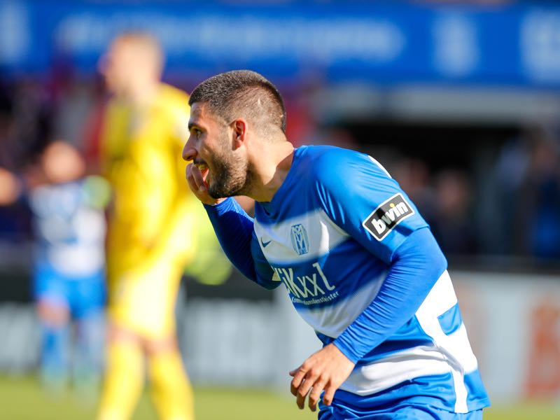 Deniz Undav of Meppen celebrates his goal during the 3. Liga match between SV Meppen and Eintracht Braunschweig at Haensch-Arena on September 29, 2018 in Meppen, Germany. (Photo by Martin Stoever/Bongarts/Getty Images)