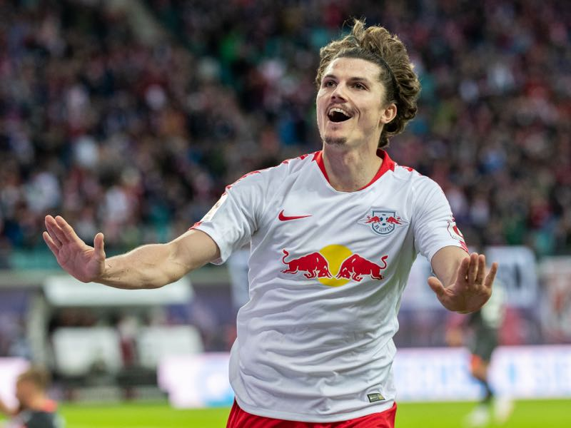 Marcel Sabitzer of RB Leipzig celebrates after scoring his team's third goal during the Bundesliga match between RB Leipzig and 1. FC Nuernberg at Red Bull Arena on October 7, 2018 in Leipzig, Germany. (Photo by Boris Streubel/Bongarts/Getty Images)
