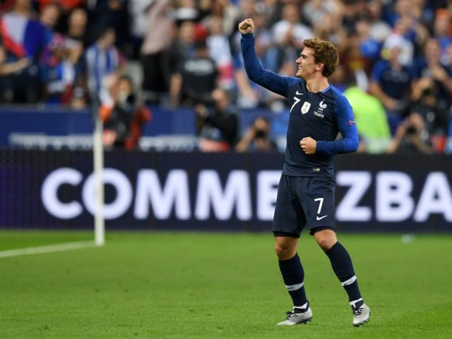 France v Germany - Antoine Griezmann of France celebrates after scoring his team's first goal during the UEFA Nations League A group one match between France and Germany at Stade de France on October 16, 2018 in Paris, France. (Photo by Matthias Hangst/Bongarts/Getty Images)