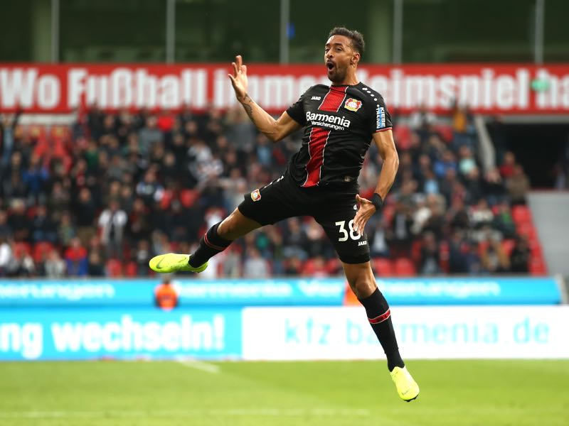 Bayer Leverkusen v Hannover 96 - Karim Bellarabi of Bayer 04 Leverkusen celebrates after scoring his team's second goal during the Bundesliga match between Bayer 04 Leverkusen and Hannover 96 at BayArena on October 20, 2018 in Leverkusen, Germany. (Photo by Alex Grimm/Bongarts/Getty Images)