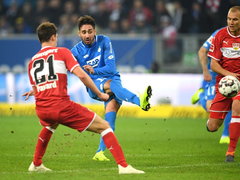 Ishak Belfodil of 1899 Hoffenheim scores his team's fourth goal during the Bundesliga match between TSG 1899 Hoffenheim and VfB Stuttgart at Wirsol Rhein-Neckar-Arena on October 27, 2018 in Sinsheim, Germany. (Photo by Matthias Hangst/Bongarts/Getty Images)
