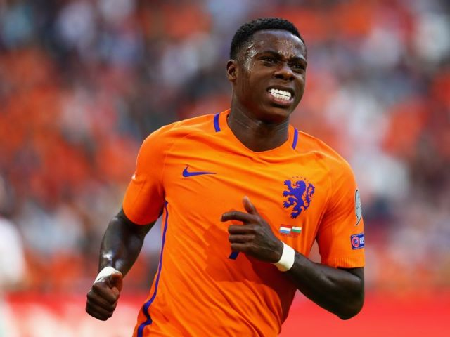 Quincy Promes of the Netherlands reacts to a missed chance on goal during the FIFA 2018 World Cup Qualifier between the Netherlands and Bulgaria held at The Amsterdam ArenA on September 3, 2017 in Amsterdam, Netherlands. (Photo by Dean Mouhtaropoulos/Getty Images)