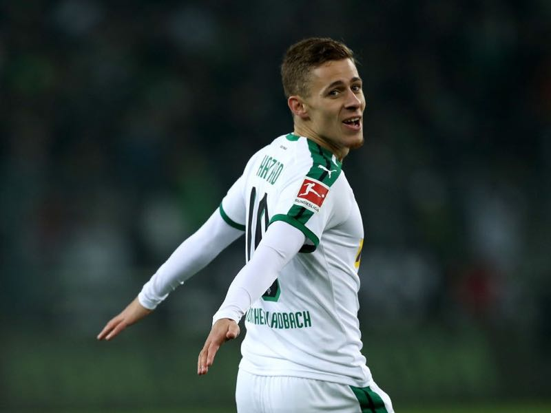 Gladbach v Hannover - Thorgan Hazard of Gladbach celebrates after he scores the equalizing goal during the Bundesliga match between Borussia Moenchengladbach and Hannover 96 at Borussia-Park on November 25, 2018 in Moenchengladbach, Germany. (Photo by Maja Hitij/Bongarts/Getty Images)