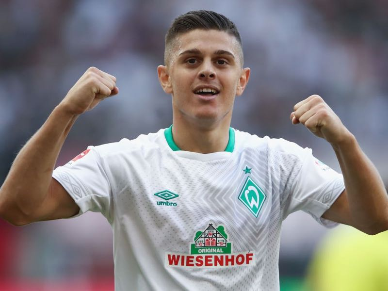 Milot Rashica of Bremen celebrates after the Bundesliga match between Eintracht Frankfurt and SV Werder Bremen at Commerzbank-Arena on September 1, 2018 in Frankfurt am Main, Germany. (Photo by Alex Grimm/Bongarts/Getty Images)