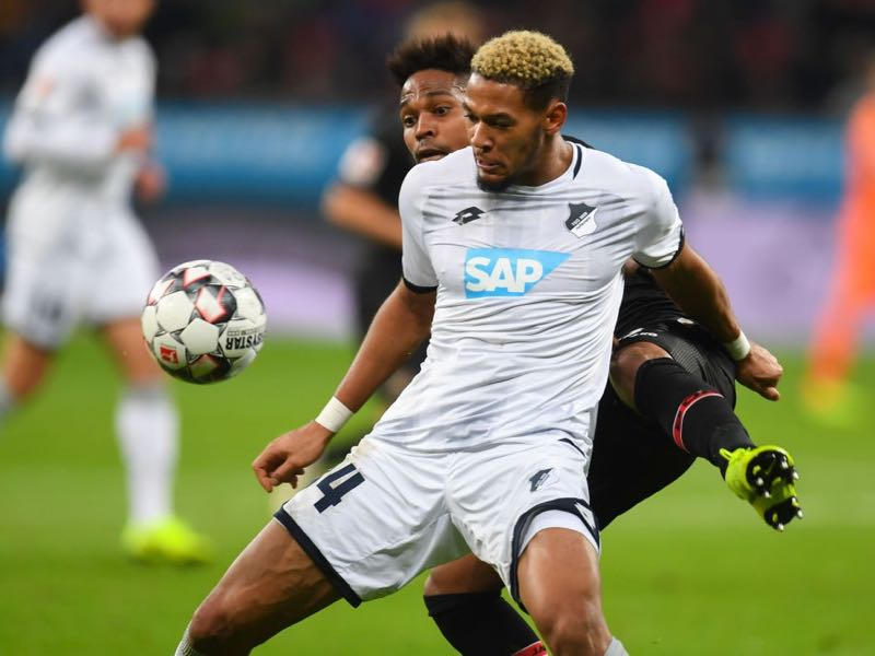 Bayer Leverkusen v Hoffenheim - Hoffenheim's Brazilian forward Joelinton and Leverkusen's Brazilian defender Wendell vie for the ball during the German first division Bundesliga football match of Bayer Leverkusen vs TSG 1899 Hoffenheim in Leverkusen, western Germany, on November 03, 2018. (Photo by Patrik STOLLARZ / AFP)