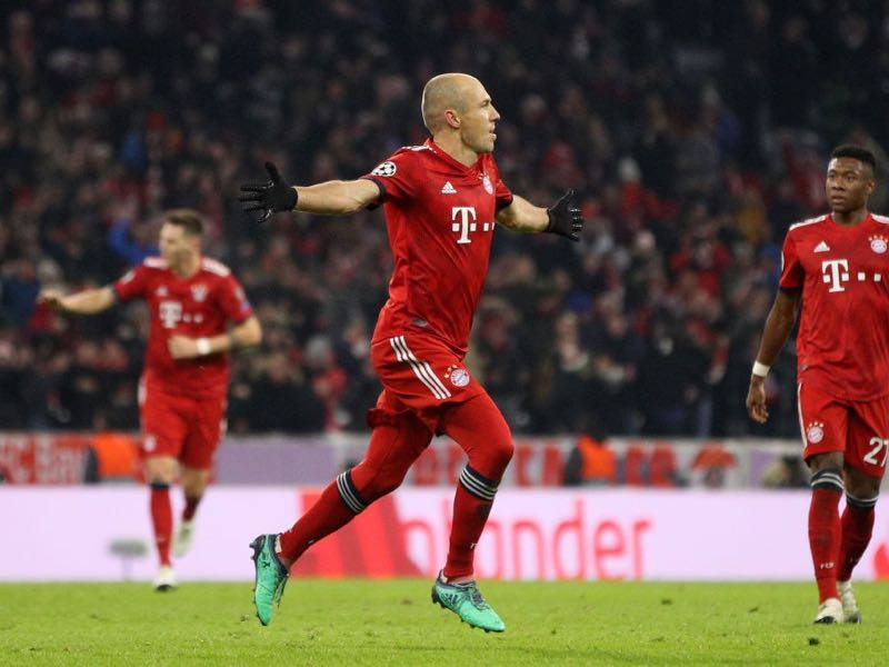 Bayern Munich v Benfica - Arjen Robben of Bayern Munich celebrates after scoring his team's second goal during the UEFA Champions League Group E match between FC Bayern Muenchen and SL Benfica at Fussball Arena Muenchen on November 27, 2018 in Munich, Germany. (Photo by Adam Pretty/Getty Images)