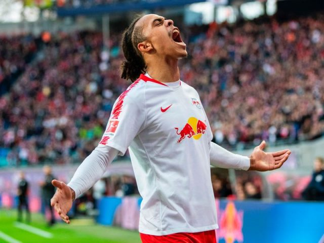 Leipzig v Leverkusen - Leipzig´s Danish forward Yussuf Poulsen celebrates scoring during the German first division Bundesliga football match RB Leipzig vs Bayer Leverkusen in Leipzig, eastern Germany, on November 11, 2018. (ROBERT MICHAEL/AFP/Getty Images)