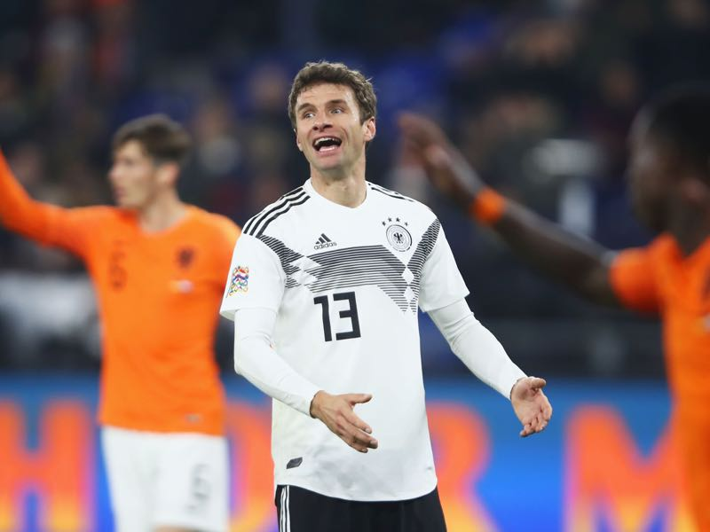 Germany v Netherlands - Thomas Müller made his 100th appearance on Monday (Photo by Alex Grimm/Bongarts/Getty Images,)