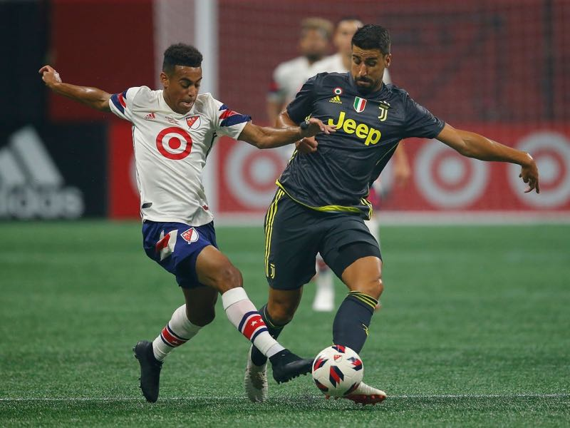 Tyler Adams #2 of the MLS All-Stars challenges Sami Khedira #6 of Juventus during the 2018 MLS All-Star Game at Mercedes-Benz Stadium on August 1, 2018 in Atlanta, Georgia. (Photo by Kevin C. Cox/Getty Images)