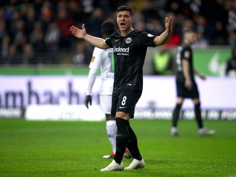 Eintracht Frankfurt v Wolfsburg - Luka Jovic of Eintracht Frankfurt reacts during the Bundesliga match between Eintracht Frankfurt and VfL Wolfsburg at Commerzbank-Arena on December 2, 2018 in Frankfurt am Main, Germany. (Photo by Alex Grimm/Bongarts/Getty Images)