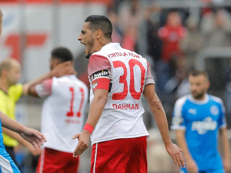 Hamdi Dahmani of Fortuna Koeln cries during the 3. Liga match between SC Fortuna Koeln and VfL Sportfreunde Lotte at Suedstadion on September 22, 2018 in Cologne, Germany. (Photo by Mika Volkmann/Bongarts/Getty Images)