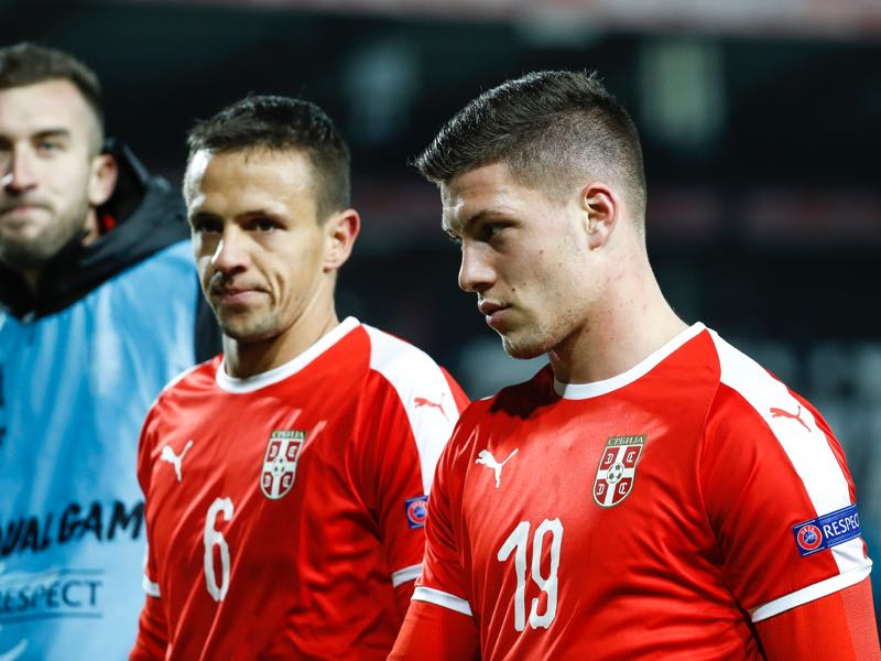 Nemanja Maksimovic (L) and Luka Jovic (R) of Serbia look on after the UEFA Nations League C group four match between Serbia and Montenegro at stadium Rajko Mitic on November 17, 2018 in Belgrade, Serbia. (Photo by Srdjan Stevanovic/Getty Images)