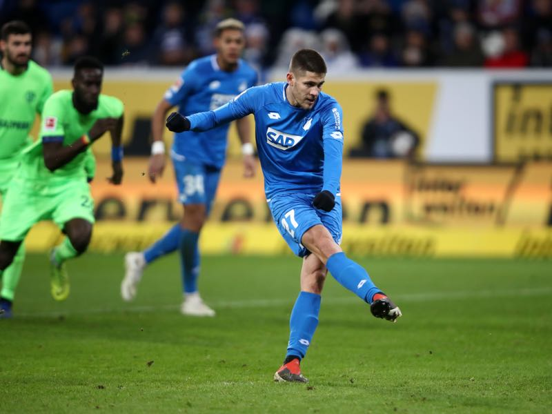 Andrej Kramaric of 1899 Hoffenheim scores a penalty for his team's first goal during the Bundesliga match between TSG 1899 Hoffenheim and FC Schalke 04 at Wirsol Rhein-Neckar-Arena on December 1, 2018 in Sinsheim, Germany. (Photo by Alex Grimm/Bongarts/Getty Images)