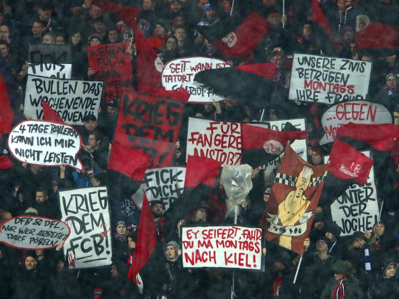 Nürnberg v Leverkusen - Nuremburg fans display banners protesting against Monday night matches prior to the Bundesliga match between 1. FC Nuernberg and Bayer 04 Leverkusen at Max-Morlock-Stadion on December 3, 2018 in Nuremberg, Germany. (Photo by Alexander Hassenstein/Bongarts/Getty Images)