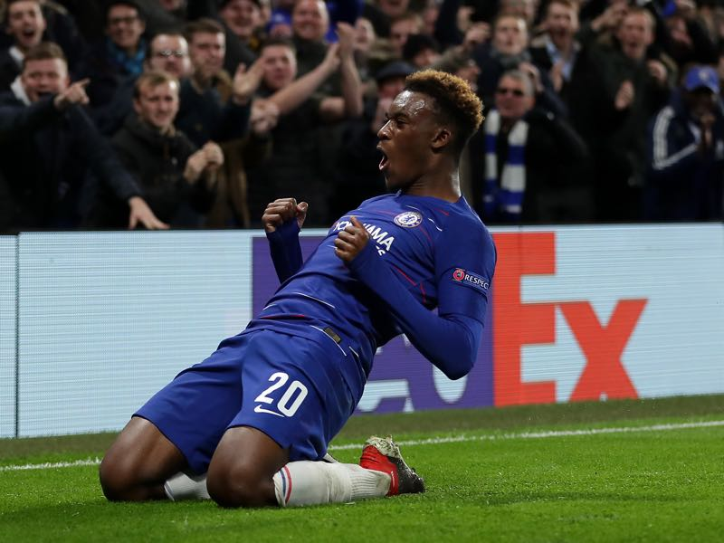 Callum Hudson-Odoi of Chelsea celebrates after scoring his team's third goal during the UEFA Europa League Group L match between Chelsea and PAOK at Stamford Bridge on November 29, 2018 in London, United Kingdom. (Photo by Richard Heathcote/Getty Images)