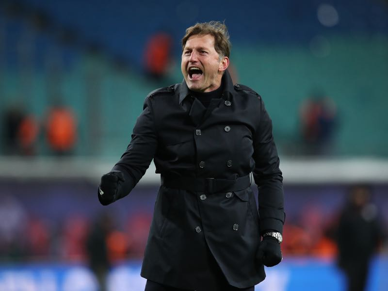 Head coach Ralph Hasenhüttl of RB Leipzig celebrates after the Bundesliga match between RB Leipzig and FC Bayern Muenchen at Red Bull Arena on March 18, 2018 in Leipzig, Germany. (Photo by Ronny Hartmann/Bongarts/Getty Images)