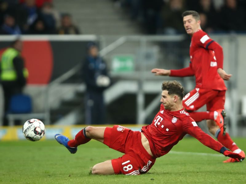 Hoffenheim v Bayern - Leon Goretzka of Bayern Munich scores the 2nd goal during the Bundesliga match between TSG 1899 Hoffenheim and FC Bayern Muenchen at Wirsol Rhein-Neckar-Arena on January 18, 2019 in Sinsheim, Germany. (Photo by Alex Grimm/Bongarts/Getty Images)